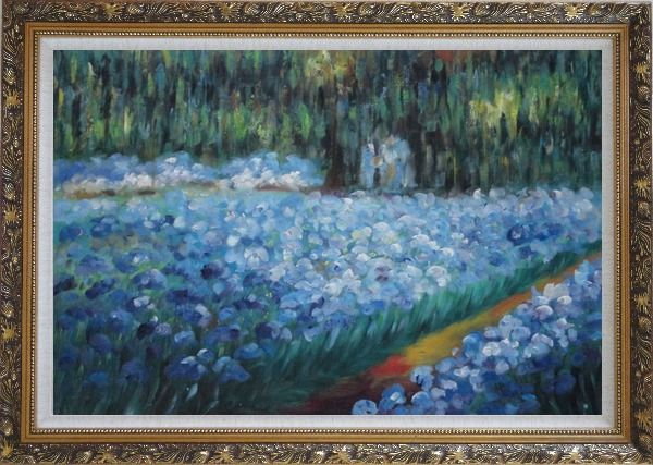 Framed The Artist's Garden at Giverny, Monet Reproduction Oil Painting France Impressionism Ornate Antique Dark Gold Wood Frame 30 x 42 Inches