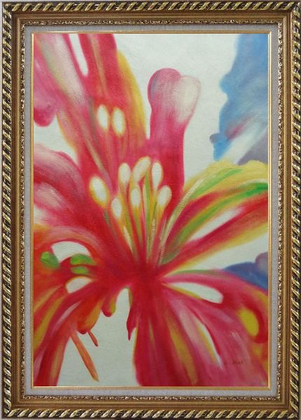 Framed Colorful Flower Pistil Oil Painting Modern Exquisite Gold Wood Frame 42 x 30 Inches