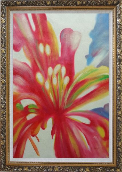 Framed Colorful Flower Pistil Oil Painting Modern Ornate Antique Dark Gold Wood Frame 42 x 30 Inches