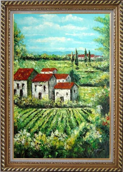 Framed Tuscan Village in a Landscape Oil Painting Italy Naturalism Exquisite Gold Wood Frame 42 x 30 Inches