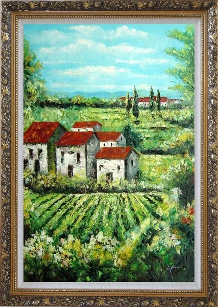 Framed Tuscan Village in a Landscape Oil Painting Italy Naturalism Ornate Antique Dark Gold Wood Frame 42 x 30 Inches
