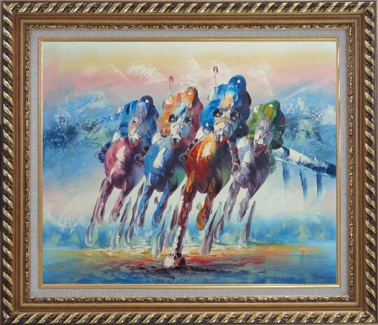 Framed Horse Racing Oil Painting Portraits Animal Modern Exquisite Gold Wood Frame 26 x 30 Inches