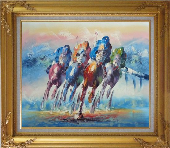 Framed Horse Racing Oil Painting Portraits Animal Modern Gold Wood Frame with Deco Corners 27 x 31 Inches