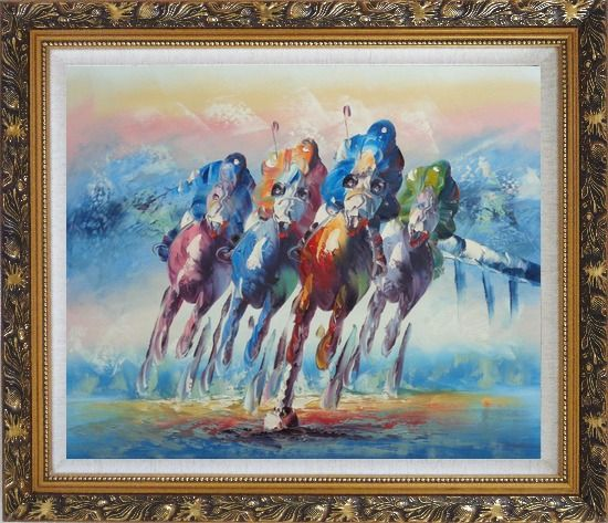 Framed Horse Racing Oil Painting Portraits Animal Modern Ornate Antique Dark Gold Wood Frame 26 x 30 Inches
