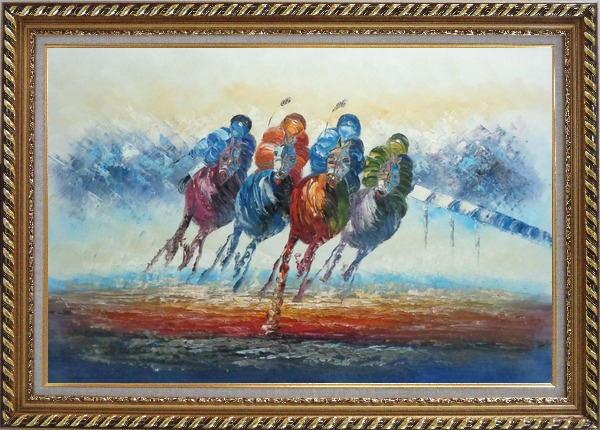 Framed Horse Racing Oil Painting Portraits Animal Modern Exquisite Gold Wood Frame 30 x 42 Inches