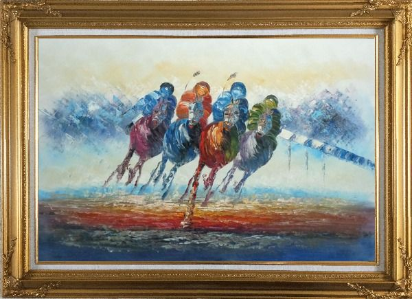 Framed Horse Racing Oil Painting Portraits Animal Modern Gold Wood Frame with Deco Corners 31 x 43 Inches