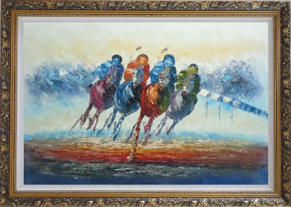 Framed Horse Racing Oil Painting Portraits Animal Modern Ornate Antique Dark Gold Wood Frame 30 x 42 Inches