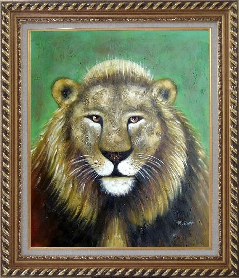 Framed Lion Head Oil Painting Animal Naturalism Exquisite Gold Wood Frame 30 x 26 Inches
