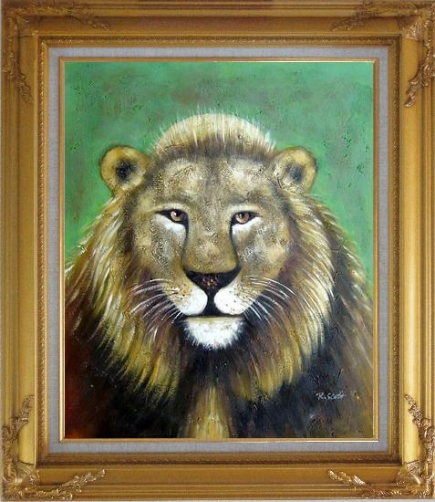 Framed Lion Head Oil Painting Animal Naturalism Gold Wood Frame with Deco Corners 31 x 27 Inches