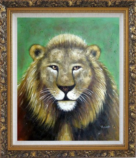 Framed Lion Head Oil Painting Animal Naturalism Ornate Antique Dark Gold Wood Frame 30 x 26 Inches
