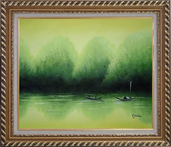 Framed Lake Impression Oil Painting Landscape River Impressionism Exquisite Gold Wood Frame 26 x 30 Inches