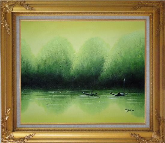 Framed Lake Impression Oil Painting Landscape River Impressionism Gold Wood Frame with Deco Corners 27 x 31 Inches