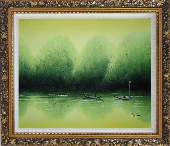 Framed Lake Impression Oil Painting Landscape River Impressionism Ornate Antique Dark Gold Wood Frame 26 x 30 Inches