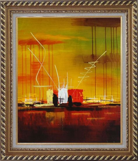 Framed Abstract Oil Painting of Harborside Nonobjective Modern Exquisite Gold Wood Frame 30 x 26 Inches