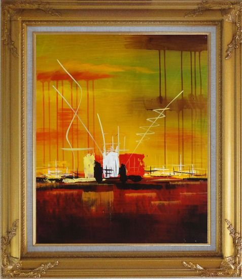 Framed Abstract Oil Painting of Harborside Nonobjective Modern Gold Wood Frame with Deco Corners 31 x 27 Inches