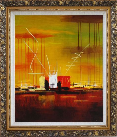 Framed Abstract Oil Painting of Harborside Nonobjective Modern Ornate Antique Dark Gold Wood Frame 30 x 26 Inches