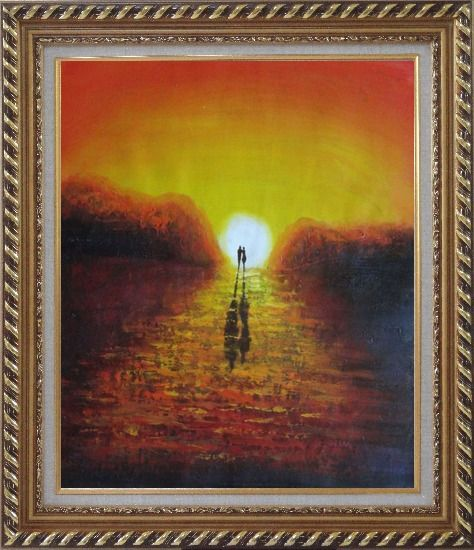 Framed A Couple Walking in Glowing Dawn Light Oil Painting Portraits Impressionism Exquisite Gold Wood Frame 30 x 26 Inches