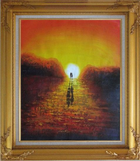 Framed A Couple Walking in Glowing Dawn Light Oil Painting Portraits Impressionism Gold Wood Frame with Deco Corners 31 x 27 Inches