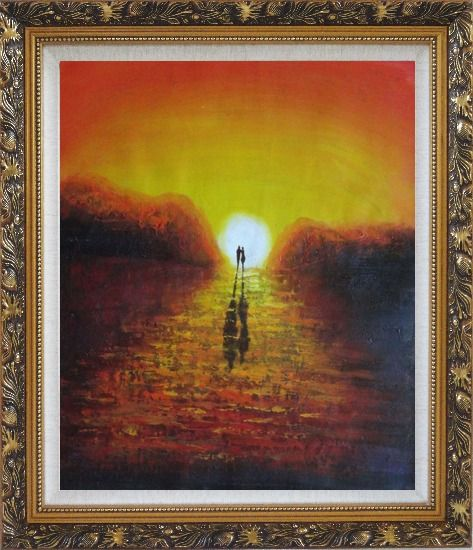 Framed A Couple Walking in Glowing Dawn Light Oil Painting Portraits Impressionism Ornate Antique Dark Gold Wood Frame 30 x 26 Inches