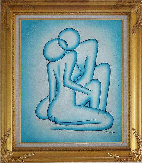 Framed Modern Painting of Kiss Oil Portraits Couple Gold Wood Frame with Deco Corners 31 x 27 Inches