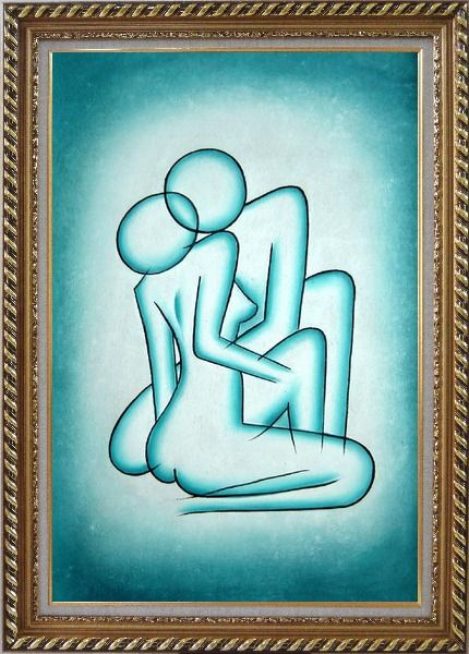 Framed Modern Painting of Kiss Oil Portraits Couple Exquisite Gold Wood Frame 42 x 30 Inches