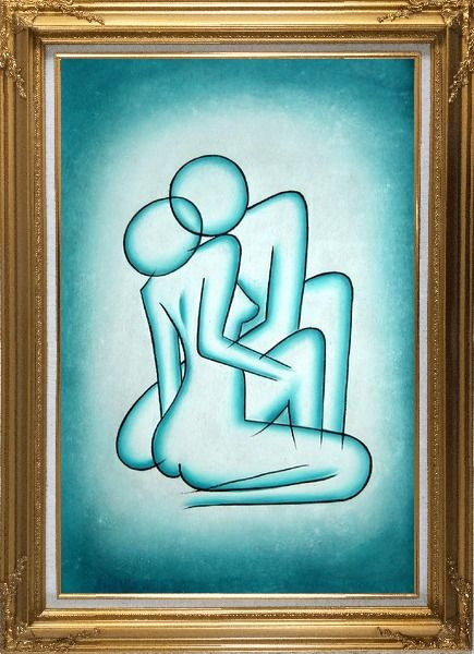 Framed Modern Painting of Kiss Oil Portraits Couple Gold Wood Frame with Deco Corners 43 x 31 Inches