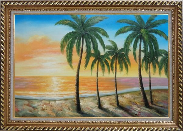 Framed Tropical Paradise of Palm Trees on Sunset at Seaside Oil Painting Seascape America Naturalism Exquisite Gold Wood Frame 30 x 42 Inches