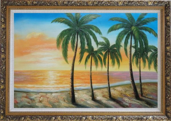 Framed Tropical Paradise of Palm Trees on Sunset at Seaside Oil Painting Seascape America Naturalism Ornate Antique Dark Gold Wood Frame 30 x 42 Inches