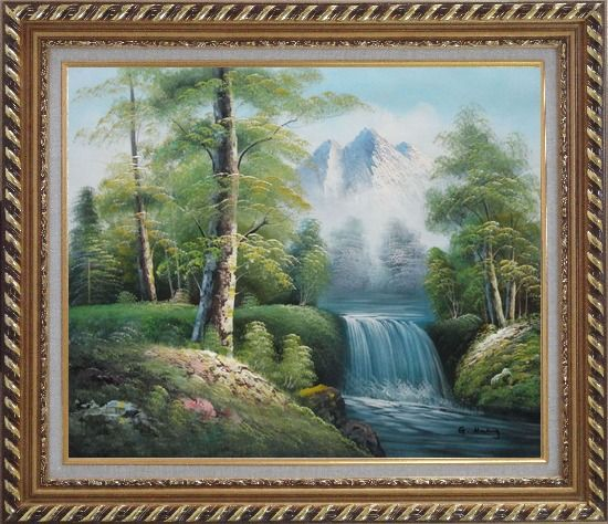 Framed Small Waterfall With Pointed Snow Mountain in Alasak In Spring Oil Painting Landscape Naturalism Exquisite Gold Wood Frame 26 x 30 Inches