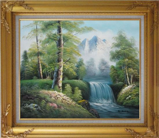 Framed Small Waterfall With Pointed Snow Mountain in Alasak In Spring Oil Painting Landscape Naturalism Gold Wood Frame with Deco Corners 27 x 31 Inches
