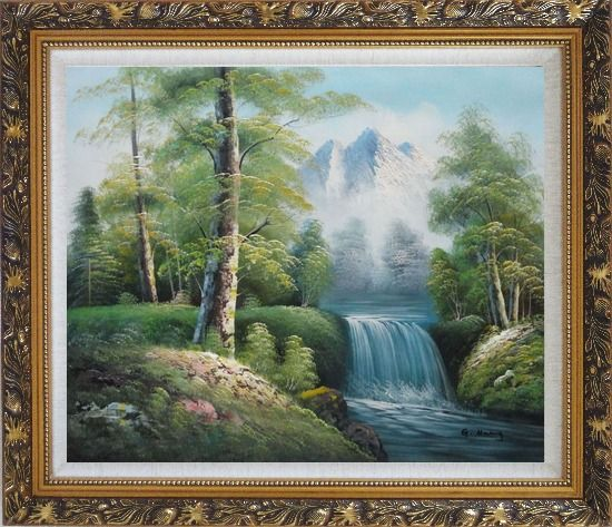 Framed Small Waterfall With Pointed Snow Mountain in Alasak In Spring Oil Painting Landscape Naturalism Ornate Antique Dark Gold Wood Frame 26 x 30 Inches