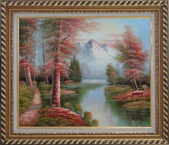Framed Small Path Along Calm Stream in Gloden Autumn Oil Painting Landscape River Naturalism Exquisite Gold Wood Frame 26 x 30 Inches