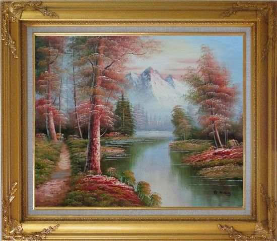 Framed Small Path Along Calm Stream in Gloden Autumn Oil Painting Landscape River Naturalism Gold Wood Frame with Deco Corners 27 x 31 Inches