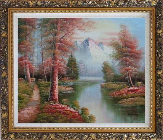 Framed Small Path Along Calm Stream in Gloden Autumn Oil Painting Landscape River Naturalism Ornate Antique Dark Gold Wood Frame 26 x 30 Inches