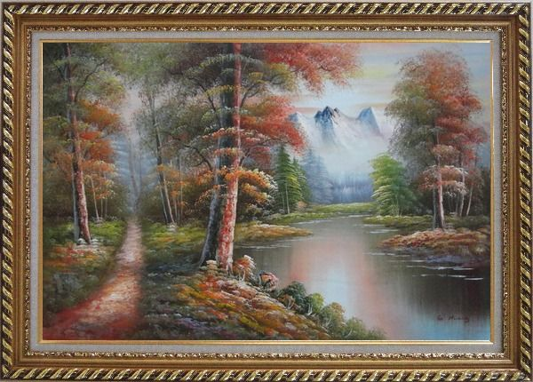 Framed Small Path Along Calm Stream in Gloden Autumn Oil Painting Landscape River Naturalism Exquisite Gold Wood Frame 30 x 42 Inches