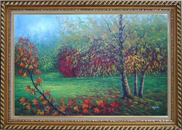 Framed Red and Yellow Trees in Green Field Oil Painting Landscape Autumn Naturalism Exquisite Gold Wood Frame 30 x 42 Inches