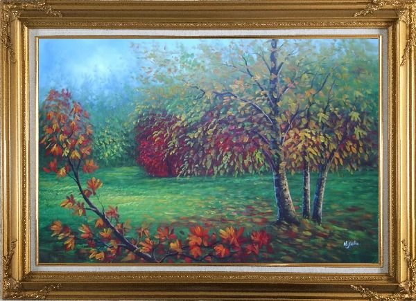 Framed Red and Yellow Trees in Green Field Oil Painting Landscape Autumn Naturalism Gold Wood Frame with Deco Corners 31 x 43 Inches
