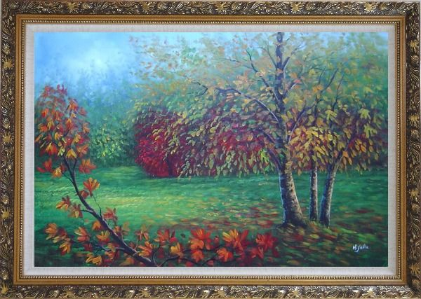 Framed Red and Yellow Trees in Green Field Oil Painting Landscape Autumn Naturalism Ornate Antique Dark Gold Wood Frame 30 x 42 Inches
