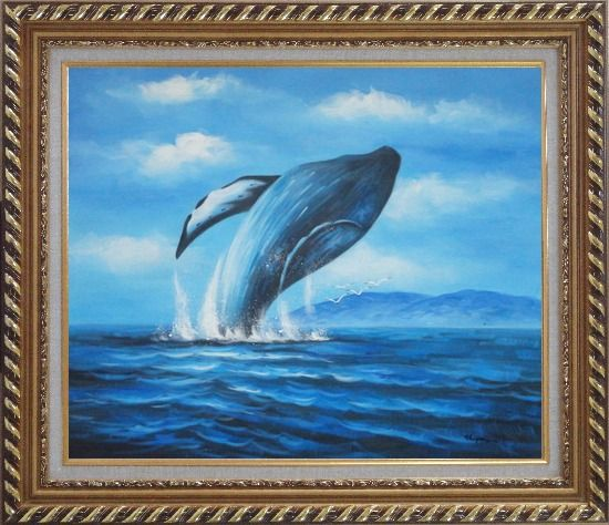 Framed Whale Jumping Out of the Water Oil Painting Animal Marine Life Naturalism Exquisite Gold Wood Frame 26 x 30 Inches