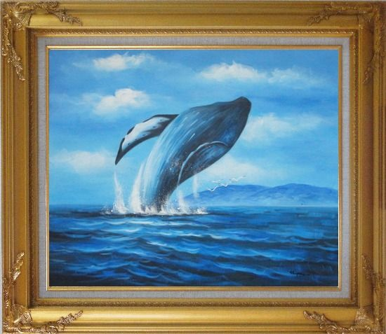 Framed Whale Jumping Out of the Water Oil Painting Animal Marine Life Naturalism Gold Wood Frame with Deco Corners 27 x 31 Inches
