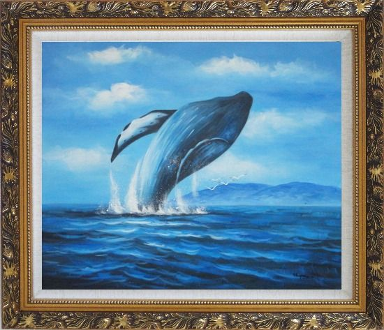 Framed Whale Jumping Out of the Water Oil Painting Animal Marine Life Naturalism Ornate Antique Dark Gold Wood Frame 26 x 30 Inches