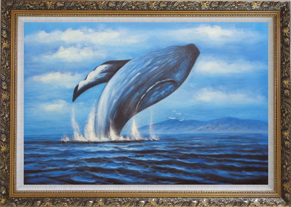 Framed Whale Jumping Out of the Water Oil Painting Animal Marine Life Naturalism Ornate Antique Dark Gold Wood Frame 30 x 42 Inches