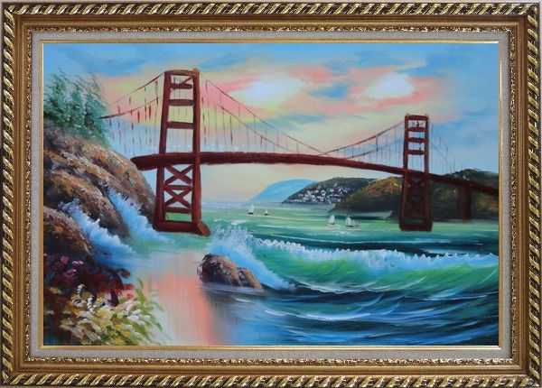 Framed Golden Gate Bridge in San Francisco Oil Painting Seascape America Naturalism Exquisite Gold Wood Frame 30 x 42 Inches