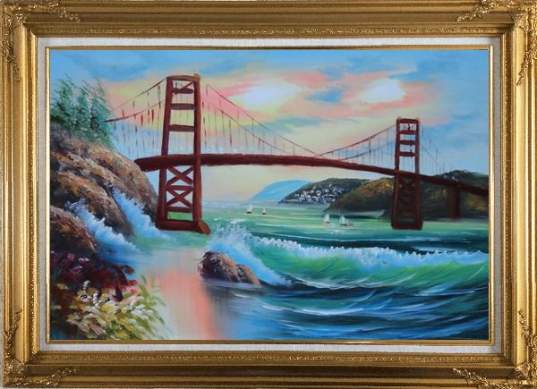 Framed Golden Gate Bridge in San Francisco Oil Painting Seascape America Naturalism Gold Wood Frame with Deco Corners 31 x 43 Inches