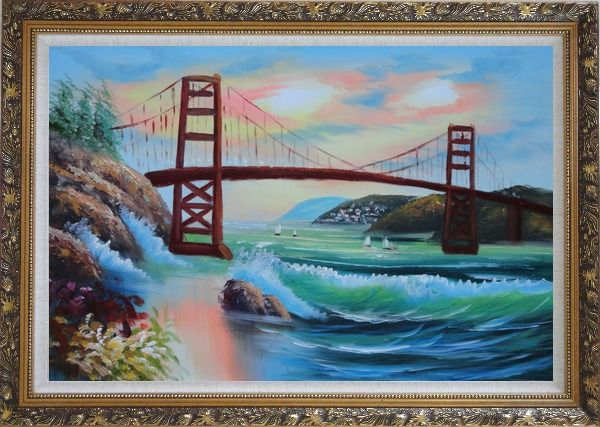 Framed Golden Gate Bridge in San Francisco Oil Painting Seascape America Naturalism Ornate Antique Dark Gold Wood Frame 30 x 42 Inches