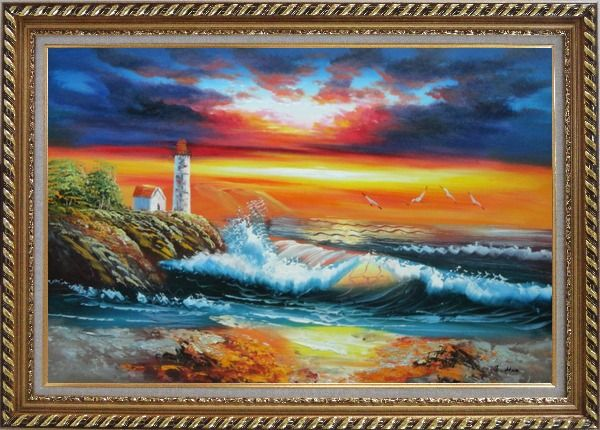Framed Seashore Light House Under Cloudy and Glowing Sky Oil Painting Seascape America Naturalism Exquisite Gold Wood Frame 30 x 42 Inches