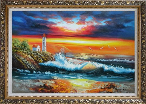 Framed Seashore Light House Under Cloudy and Glowing Sky Oil Painting Seascape America Naturalism Ornate Antique Dark Gold Wood Frame 30 x 42 Inches
