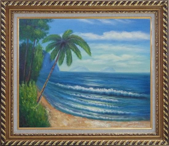 Framed Palm Tree and Blue Ocean Oil Painting Seascape America Naturalism Exquisite Gold Wood Frame 26 x 30 Inches