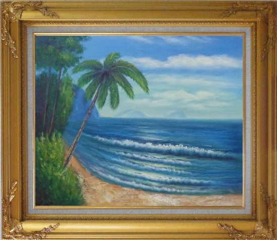 Framed Palm Tree and Blue Ocean Oil Painting Seascape America Naturalism Gold Wood Frame with Deco Corners 27 x 31 Inches