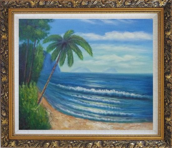 Framed Palm Tree and Blue Ocean Oil Painting Seascape America Naturalism Ornate Antique Dark Gold Wood Frame 26 x 30 Inches